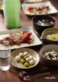 Parched Ginkgo Nuts and Japanese Dinner 塩炒り銀杏の晩ご飯