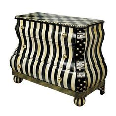 Mackenzie Childs dresser, chest of drawers. Whimsical mixed pattern, black and white.