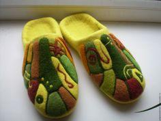 """Купить валяные тапочки """" Тепло земли"""" - желтый, домашняя обувь, ручная авторская работа"""