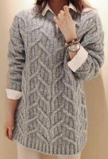 Wholesale Leisure Loose Long Pullovers Brief Sweater