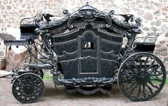 This Victorian hearse is sure to please any gothic lover! With its cool black taint, and Grimm-esque air, the horse-drawn hearse will steal the show. Steam Punk, Funeral, Horse Carriage, Carriage House, Buggy, Gothic Steampunk, Steampunk Emporium, Steampunk Book, Steampunk Gadgets
