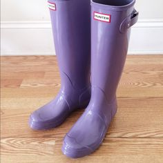 Hunter boots size 8 US, UK 6 Thundercloud purple Hunter Women's Original Gloss Tall Rain Boots- Brand new with the box!!! Never worn!! Color: Thundercloud purple, lilac Size: women's US 8, UK 6, Euro 39. Price firm. No trades. ☔️☔️☔️☔️☔️☔️☔️☔️☔️ Hunter Boots Shoes Winter & Rain Boots