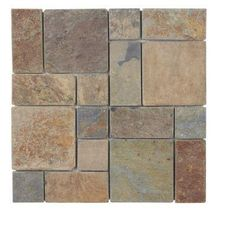 Jeffrey Court Rust Block Medley 12 in. x 12 in.x 8 mm Slate Mosaic Wall Tile-99124 at The Home Depot