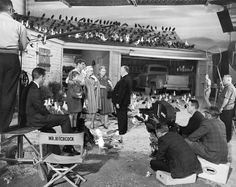 Alfred Hitchcock directing the final scene of The Birds, 1963