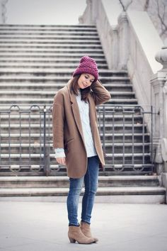 masculine coat and same color booties,a must