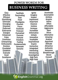 English Grammar - 50 power words for business writing More business writing tips here: http://www.grammarcheck.net/business-writing-blunders/
