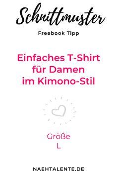 Einfaches T-Shirt für Damen im Kimono-Stil - Kostenloses Schnittmuster für ein Kurzarm-Shirt mit oder ohne Peter-Pan-Kragen. Größe L. Die kleinen Ärmel sind bereits am Schnittmuster angeschnitten. Auf das Einsetzen eines Ärmels wird somit verzichtet. Freebook zum selber nähen. #nähen #schnittmuster #gratisschnittmuster #ebook #freebook #anleitung #nähanleitung #tutorial #selbernähen #tshirt #kimonoshirt via @naehtalente Kimono Shirt, Peter Pan, Sewing Projects, Sew Dress, Peter Pans