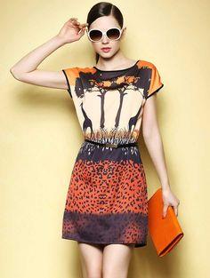 European Style Giraffe Print Dress