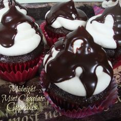 Midnight Mint Chocolate Cupcakes-the coffee in the cake and the mint in the icing combine to create a decadent treat.
