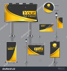 Vector Outdoor Advertising Design For Company With Color Circles Elements Of Stationery Printing Media Light Box Banner Roll Up Flag White Identity Template Background - 458294701 : Shutterstock