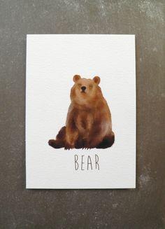 Art print bear A6 by NikkiDotti on Etsy, €9.50