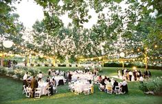 The Bear Flag Farm was lit with lanterns for the reception; Jose Villa Photography
