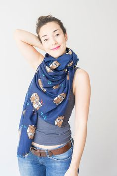 Owl Scarf Owl Print Scarf Blue Scarf Owl Lover Gift For Her Women Accessory Women Fashion Fall Fashion  Soft Scarf Summer Scarf