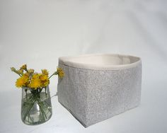 Small storage basket / Gray mini bin / Fabric basket