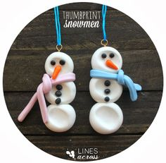 """Lines Across"": Clay Thumbprint Snowman Ornament"
