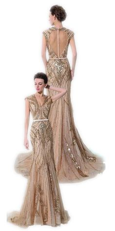 Sheer Backless luxury Evening Dresses 100% REAL IMAGE Mermaid Champagne Beading Sequins Sexy cap sleeve Prom Gown Formal Dress