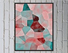 Abstract digital download art. Faded shades of pastel pink and coral, soft turquoise pink and red - Made by Gia $5.50
