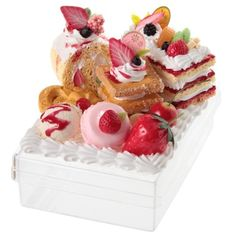 Sweet Transparent Post Card Box Fruits Cakes Strawberry Macarons Ice Cream Adorable Fake Dessert And Food Craft Tokyo Dessert Factory -#kawaii