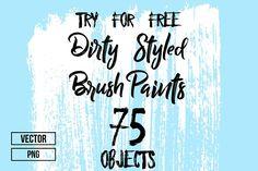 75 Hand Crafted Dirty Brush Strokes by Alyona Vorotnikova on @creativemarket
