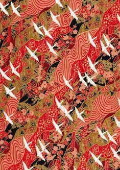 Japanese Yuzen Chiyogami Washi Paper Crane Design by CraftyPaperOz Japanese Textiles, Japanese Patterns, Japanese Prints, Japanese Design, Japanese Paper, Japanese Fabric, Japanese Kimono, Pattern Paper, Pattern Art