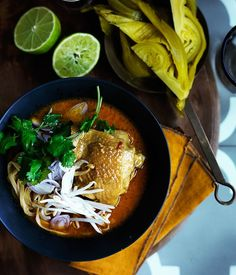 Khao soi recipe :: Gourmet Traveller. This soup, based on the Burmese noodle dish ohn no khao swè, is popular in Thailand's Chiang Mai region.