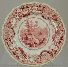 """Wm Adams Pink Historical Staffordshire """"View Near Conway N Hampshire"""" Plate 1830"""