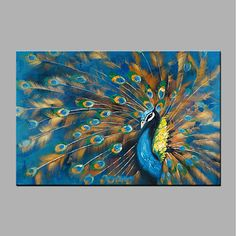 Hand Painted POP Horizontal, Modern 1 Piece Canvas Hang Oil Painting For Home De . - Hand-painted POP Horizontal, Modern 1 Piece Canvas Hang Oil Painting For Home Decoration - Bird Painting Acrylic, Peacock Painting, Peacock Art, Oil Painting On Canvas, Painting On Hand, Painting Trees, Acrylic Canvas, Acrylic Paintings, Art Paintings