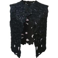 Elie Saab floral leather gilet (25499345 PYG) ❤ liked on Polyvore featuring outerwear, vests, black, floral vest, gilet vest, elie saab, pattern vest and genuine leather vest