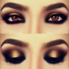 Hermoso Maquillaje Dorado y Negro maquillajeonline's photo