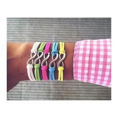 Forever Bracelets Color suede leather combined with infinity charm.   Conjunto de cuero de ante y símbolo del infinito.    $5 each / 5€ cada una