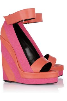 Pierre Hardy Canvas and leather platform wedge sandals