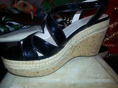 PRADA Wedge Heels Platform Shoes 7.5 B Black Patent leather Cork EUC 37.5 $249