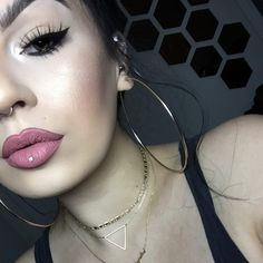 "ourfa zinali on Instagram: ""Let them baby hairs come out and play, baby girl.  Eyes: Trooper tattoo liner by @katvondbeauty. Natasha lashes by @flutterlashesinc. Vanilla pigment by MAC packed like a bowl on the inner tearduct with a damp pencil brush. Lips: Soar pencil by MAC + Serenity liquid lipstick by @mannymua733 from @gerardcosmetics."""