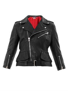 Leather peplum biker jacket | Alexander McQueen | MATCHESFASHI...