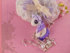 Einhorn Kette Halskette Polymer Clay unicorn Anhänger mit Schleife kawaii Schmuck handgemacht