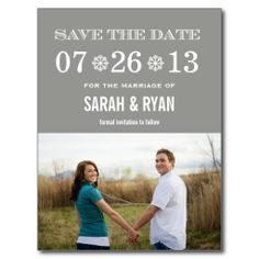 Cute Snowflake Grey Save the Date Photo Postcards