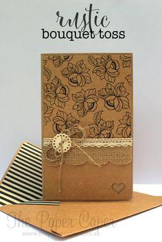 Rustic/vintage wedding card. Details @ www.thepapercaper.com.au. Stampin' Up! supplies: kraft, MDS, Burlap Ribbon, Venetian Crochet Trim, Very Vintage Designer Button, Itty Bitty Accents Punch Pack, Linen Thread
