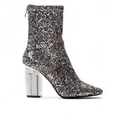 Chloe Perspex Heeled Ankle Boots in Multi Glitter