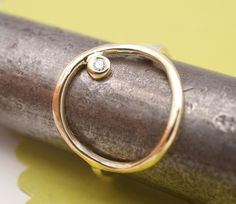14K Gold Open Circle Ring with Diamond by Tulajewelry on Etsy, $170.00