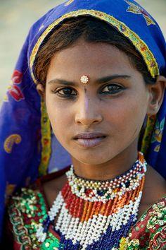 Rajasthani village girl in Jaisalmer, India.