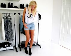 Chanel top, denim shorts, black booties, casual but super pretty!