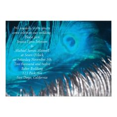 Aqua Blue Reflection Peacock Wedding Personalized Invite.  These beautiful invitations are a unique design with peacock bird feathers.