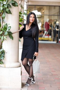 Today's post is about the unexpected details with a little black dress (LBD). I could have kept this evening look simple but I couldn't help myself so I added some surprises. Nerd Chic, Only Clothing, Black Stockings, Outfit Posts, Lbd, Sexy Legs, Hosiery, Autumn Winter Fashion, Tights