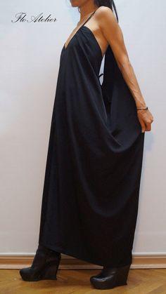 Black Kaftan/Asymmetrical Tunic/Maxi Black Dress/Black Casual Kaftan/Fashion Dress/F1298 by FloAtelier on Etsy https://www.etsy.com/listing/206002116/black-kaftanasymmetrical-tunicmaxi-black