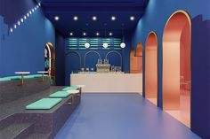 studio futura designs a walk-in-dream experience for gelato store in doha Tiered Seating, Gelato Shop, Pastel Sky, Ceiling Shades, Doha, Lounge Areas, Creative Studio, Terrazzo, Restaurant Bar