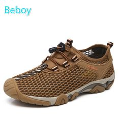 Beboy Breathable Walking Shoes Sneakers Men Amphibious Wading Shoes Quick Dry Slip-on Fishing Shoes Non-slip Mesh Sport Sneakers