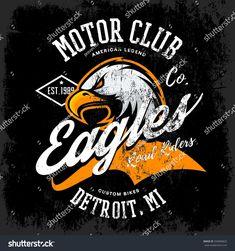 Vintage American furious eagle custom bike motor club tee print vector design isolated on dark background. Michigan, Detroit street wear t-shirt emblem. Dirt Bike Wedding, Bike Tattoos, Tatoos, Branding Design, Logo Design, Brochure Design Inspiration, Badge Design, Logo Concept, Dark Backgrounds