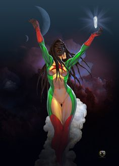 """Raya by Mshindo9  Raya Blackmoon, aka """"The Priestess of Light,"""" born in A.D. 1693 semi-immortal as a result of her mother's practice of the Wir Ka tradition. She appears to be 25-30 yrs. old. The daughter of Nana Tituba Arawak, a priestess of Wir Ka and Nana Osei Dankwah, a priest of the Akan and an independent citizen in the USA. Currently, she resides at the Philadelphia, PA HQ and serves with Karas Tyr and Razaaq as a mentor to Asad X. Neteru (Apadamax). copyright Yumy Odom"""