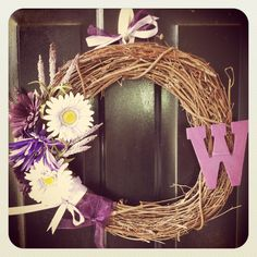 Easy DIY wreath purple with letter of last name.