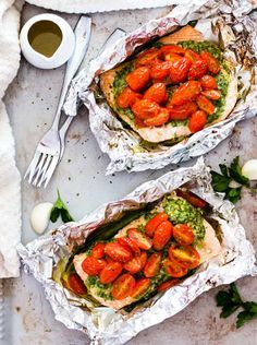 Salsa Verde Baked Salmon in Foil | Easy Foil Wrapped Camping Recipes For Outdoor Meals